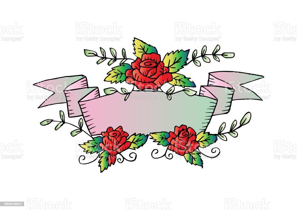 Ilustración De Mano Dibujo Marco Floral Con Flores Color De Rosa Y