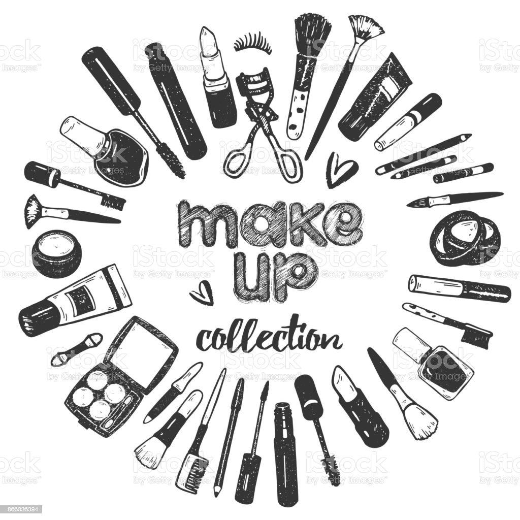 hand drawing graphic sketch make up cosmetics set nail polish powder concealer mascara eye