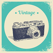 Hand drawing graphic strokes texture of old vintage film photo camera. Isolated vector illustration