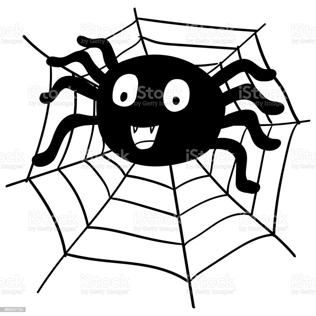 Ilustracion De Mano Dibujo Ilustracion De Dibujos Animados Vector De - Dibujos-araas-halloween