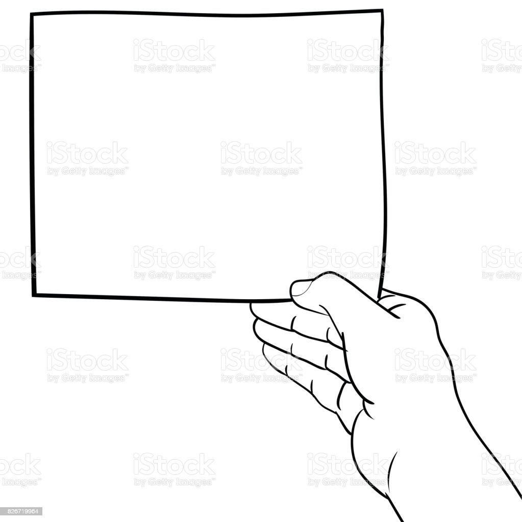 El çizimi Boş Tutan El Kağıt Vektör çizim Stok Vektör Sanatı
