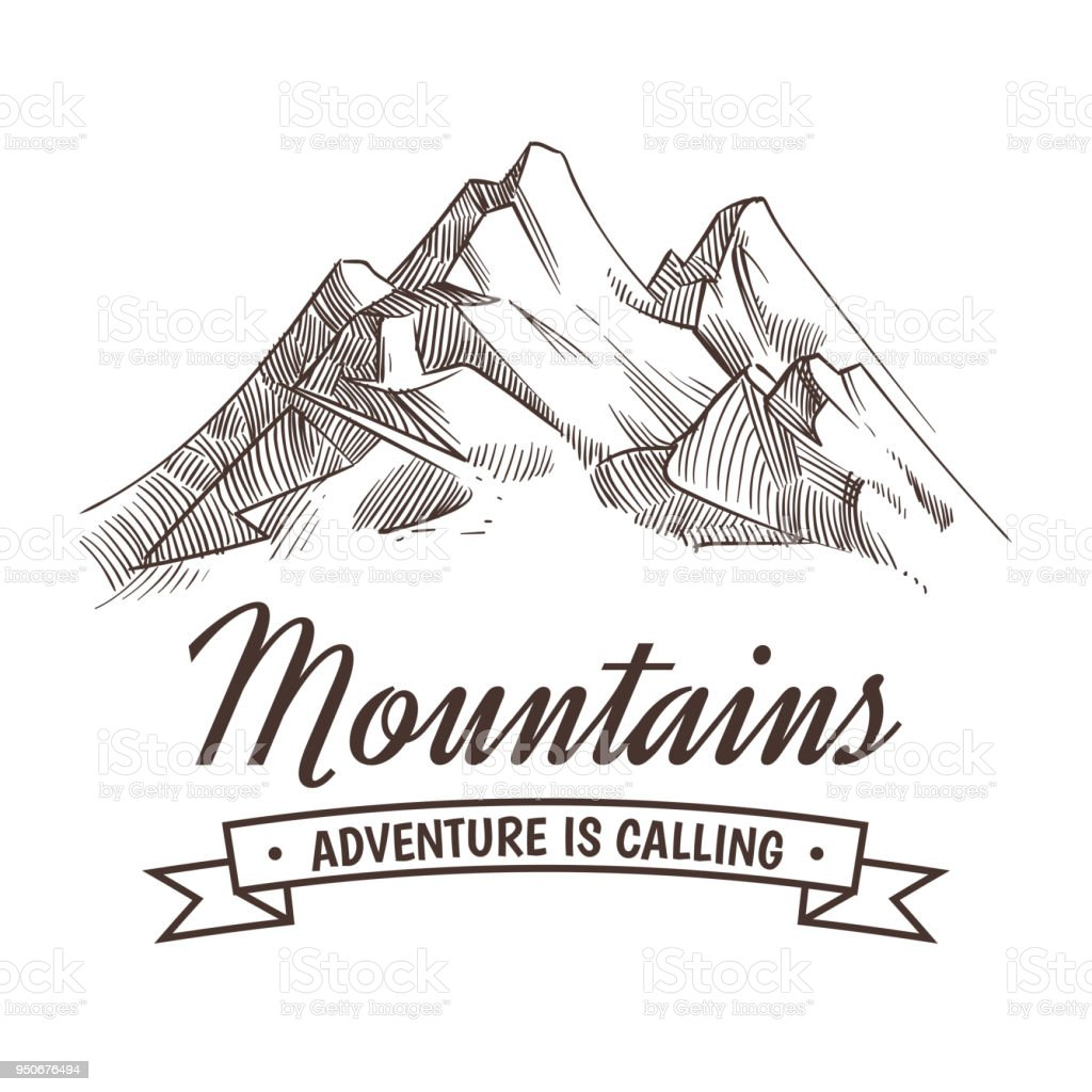 Hand drawing high mountain peak and forest vintage adventure vector poster with sketched - Dessin de montagne ...