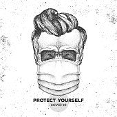 Hand drawing human skull  wearing face medical mask. Covid-19 protection methods. Coronavirus Quarantine Warning. Vector illustration