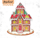 Hand drawing illustration of christmas gingerbread house. Sweet bakery
