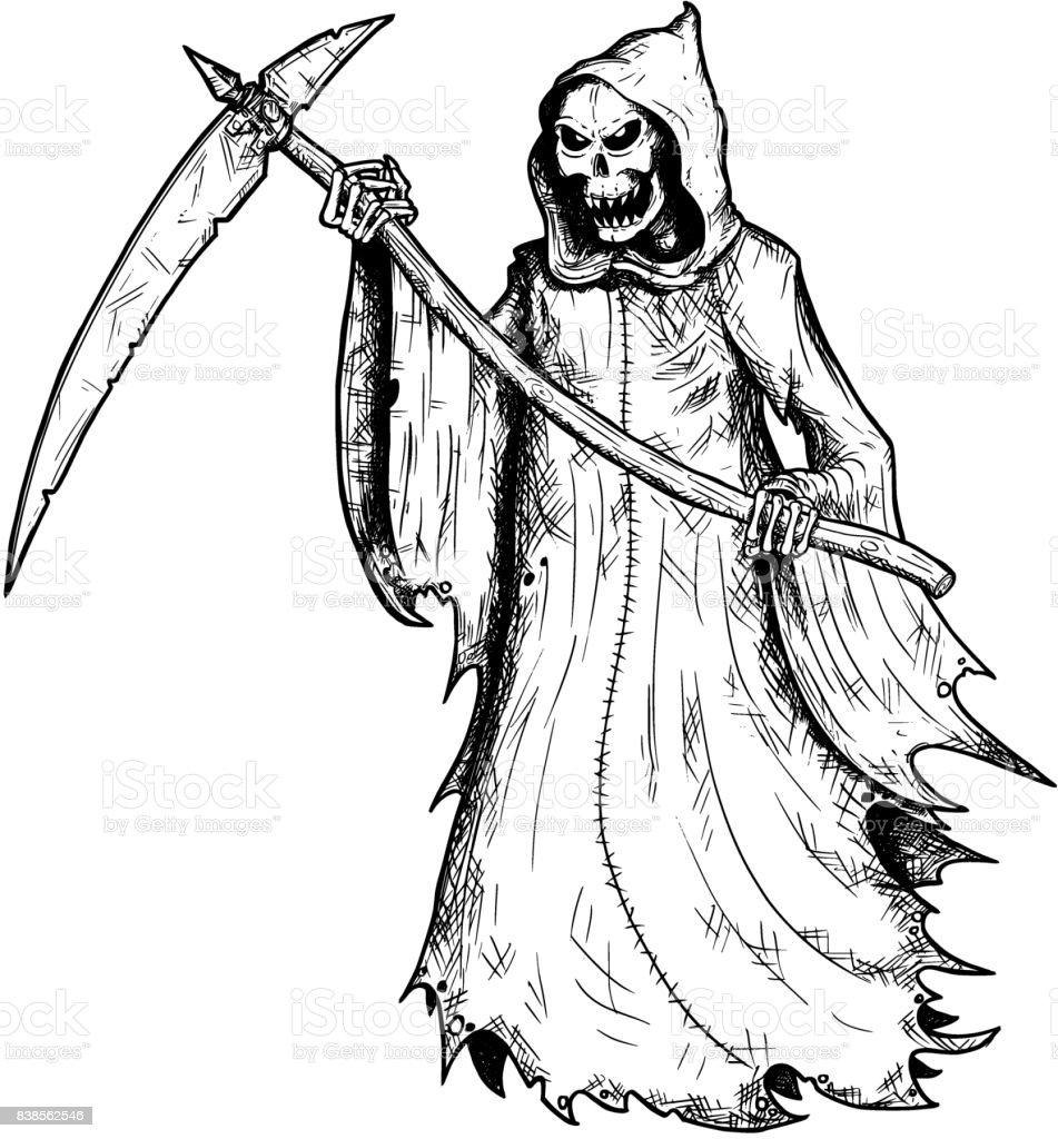 hand drawing illustration of halloween grim reaper royalty free stock vector art
