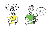 Hand drawing illustration of two boys, teenagers. One is asking questions. The other solves problems with smartphone.