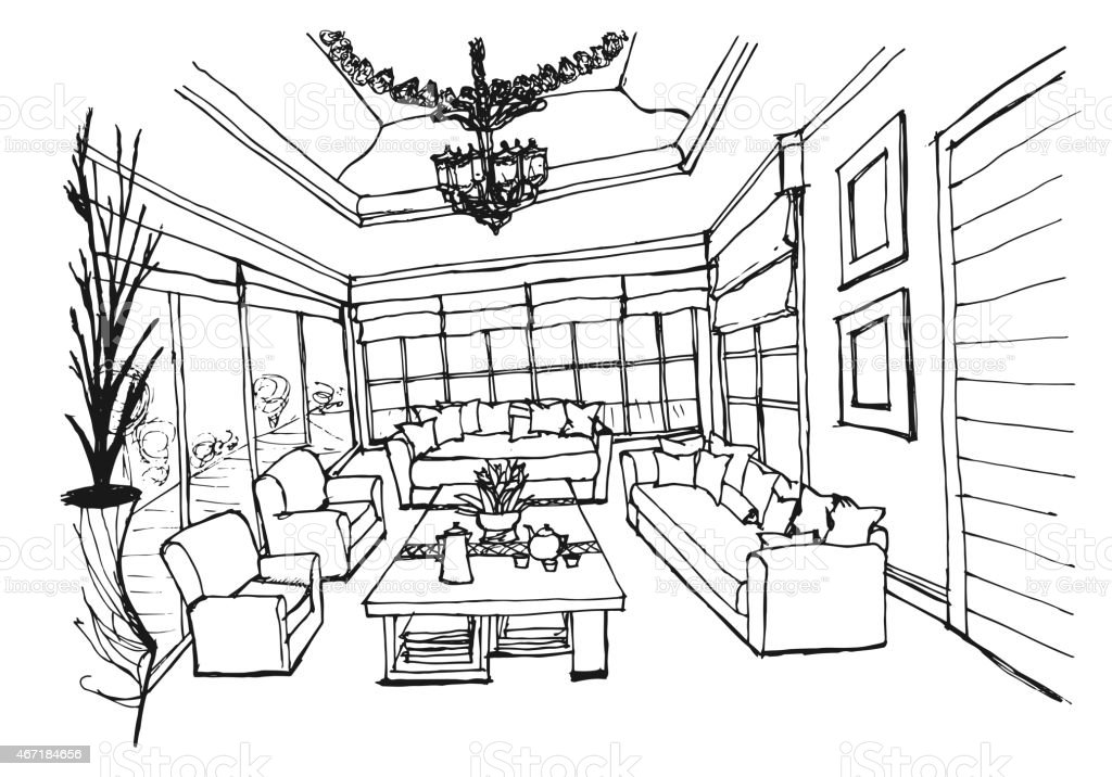 Interior Design Hand Drawings. Hand Drawing Interior Design For Living Room  On White Background Royalty