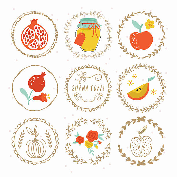hand drawing laurels and round frames for jewish new year - rosh hashana stock illustrations