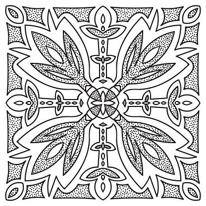 Hand drawing mandala element. Italian majolica style