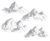 Hand drawing mountain peaks isolated retro etching sketch vector illustration. Sketch drawing peak line. engraving graphic landscape