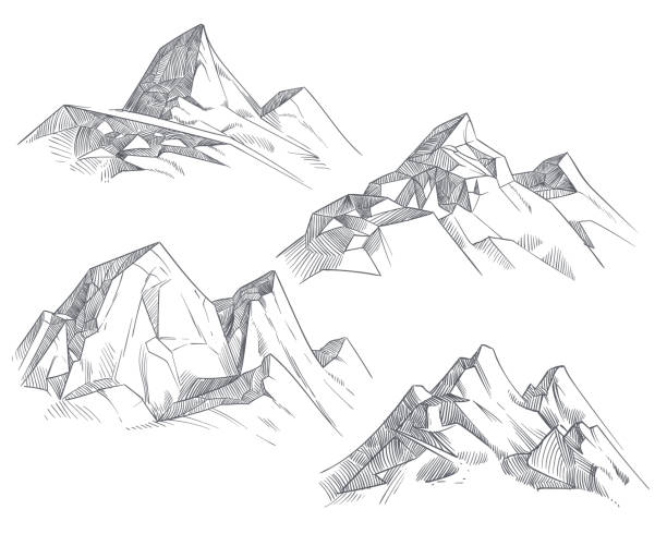 hand drawing mountain peaks isolated retro etching sketch vector illustration - skała stock illustrations