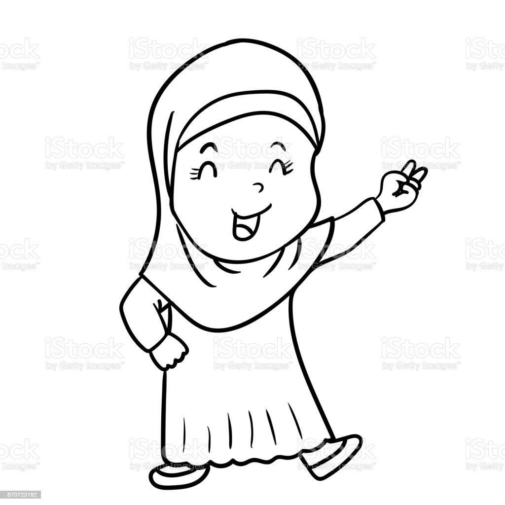 El Ile Zafer Müslüman Kız Karikatür çizimi Işaret Vektör çizim Stok