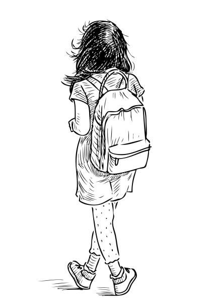 stockillustraties, clipart, cartoons en iconen met hand tekening van een klein meisje met een rugzak - alleen één meisje