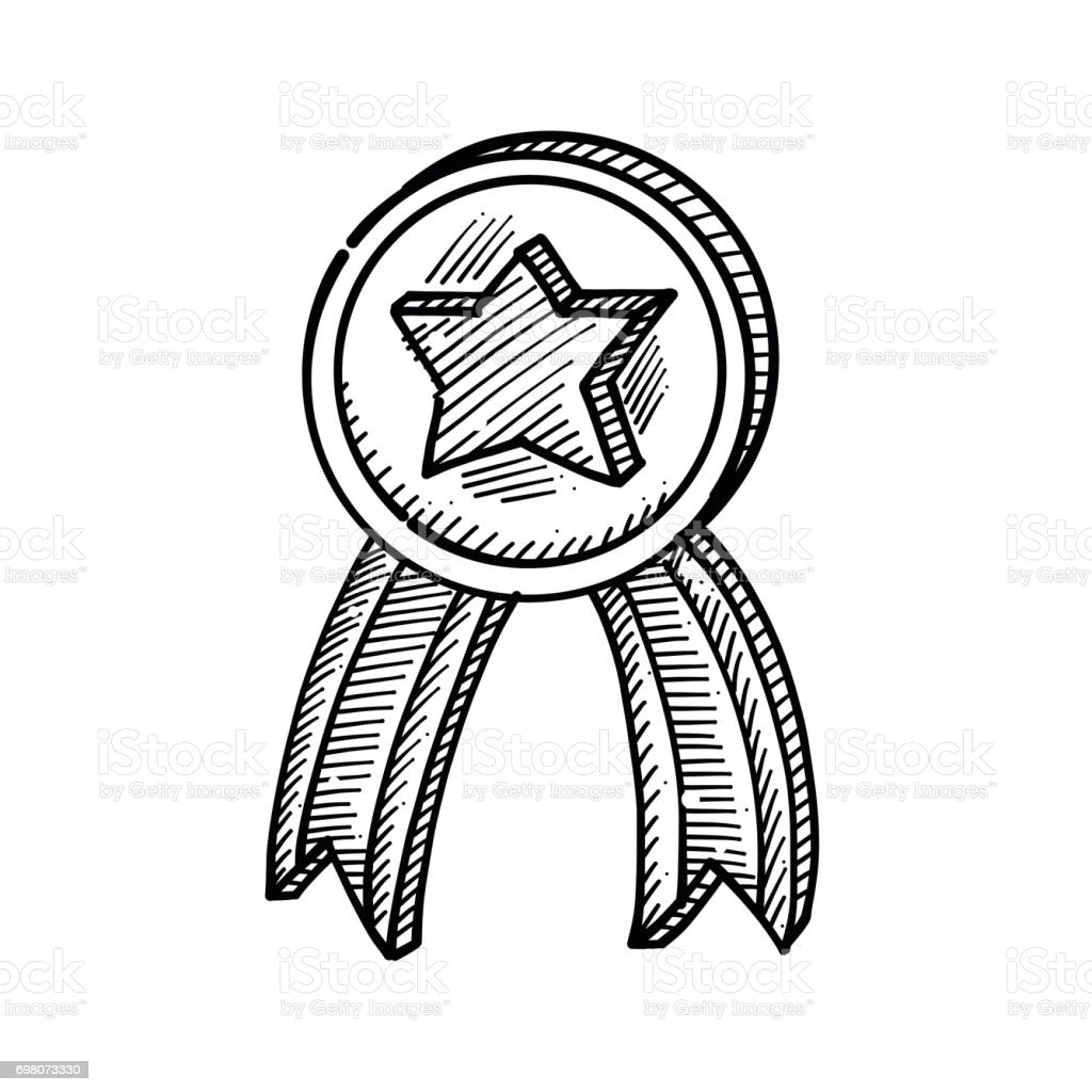 Hand drawing of a medal with a star in the middle vector art illustration