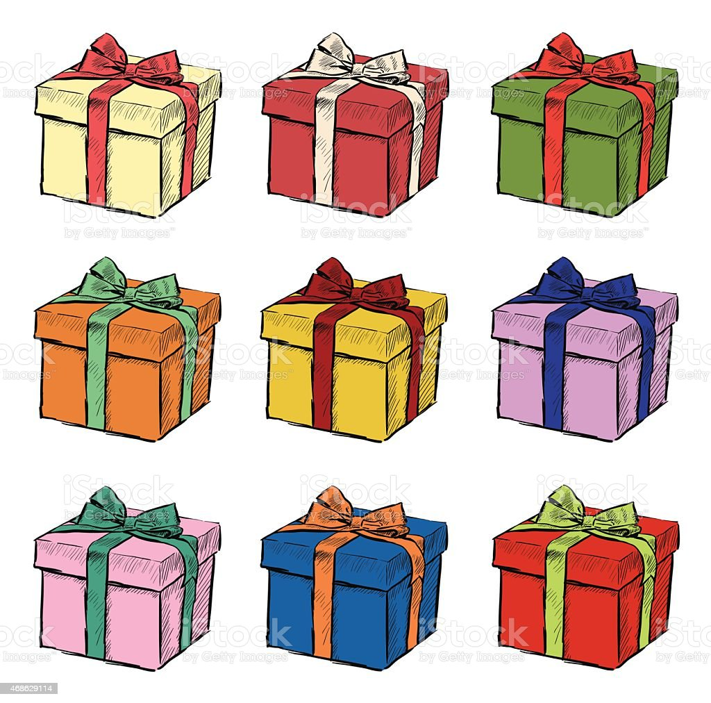 Hand Drawing Of Christmas Gift Set Nine Vector Illustrations Royalty Free