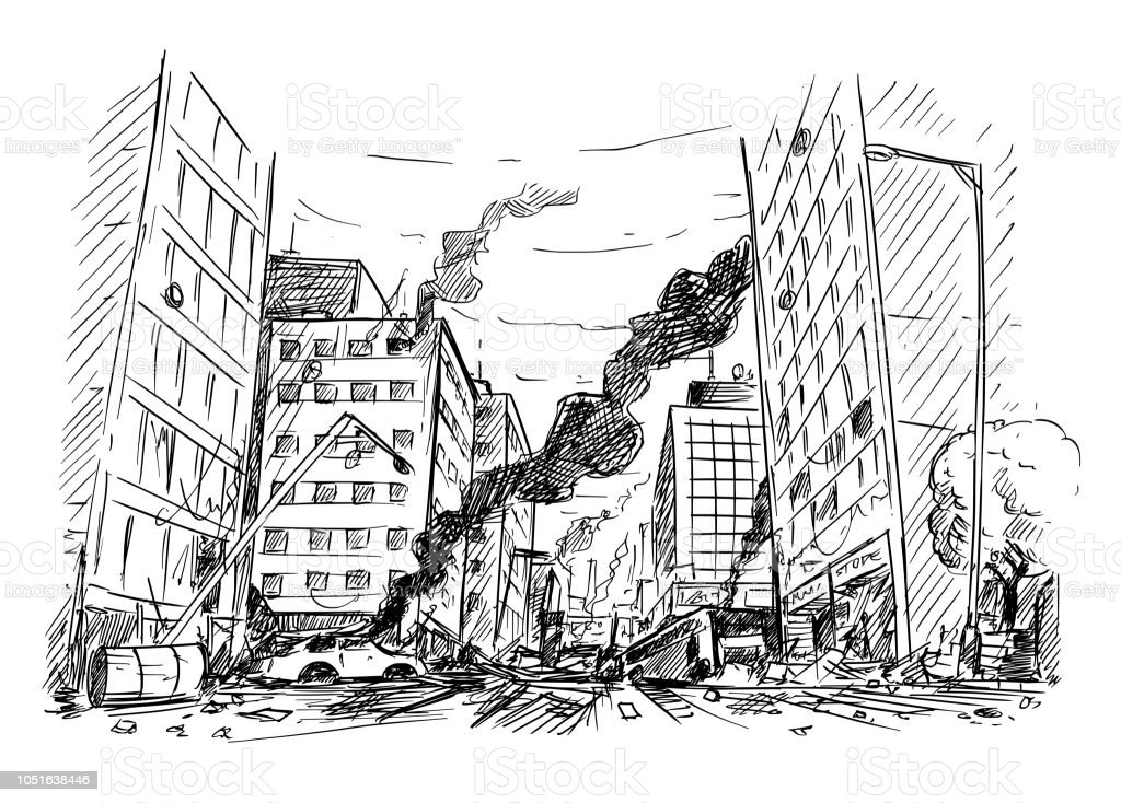 Hand Drawing of City Street Destroyed by War or Riot or Disaster Pen and ink sketchy hand drawing of modern city street destroyed by war, riot or disaster. Abandoned stock vector