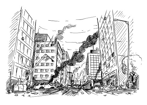 Hand Drawing Of City Street Destroyed By War Or Riot Or Disaster Stock Illustration - Download Image Now