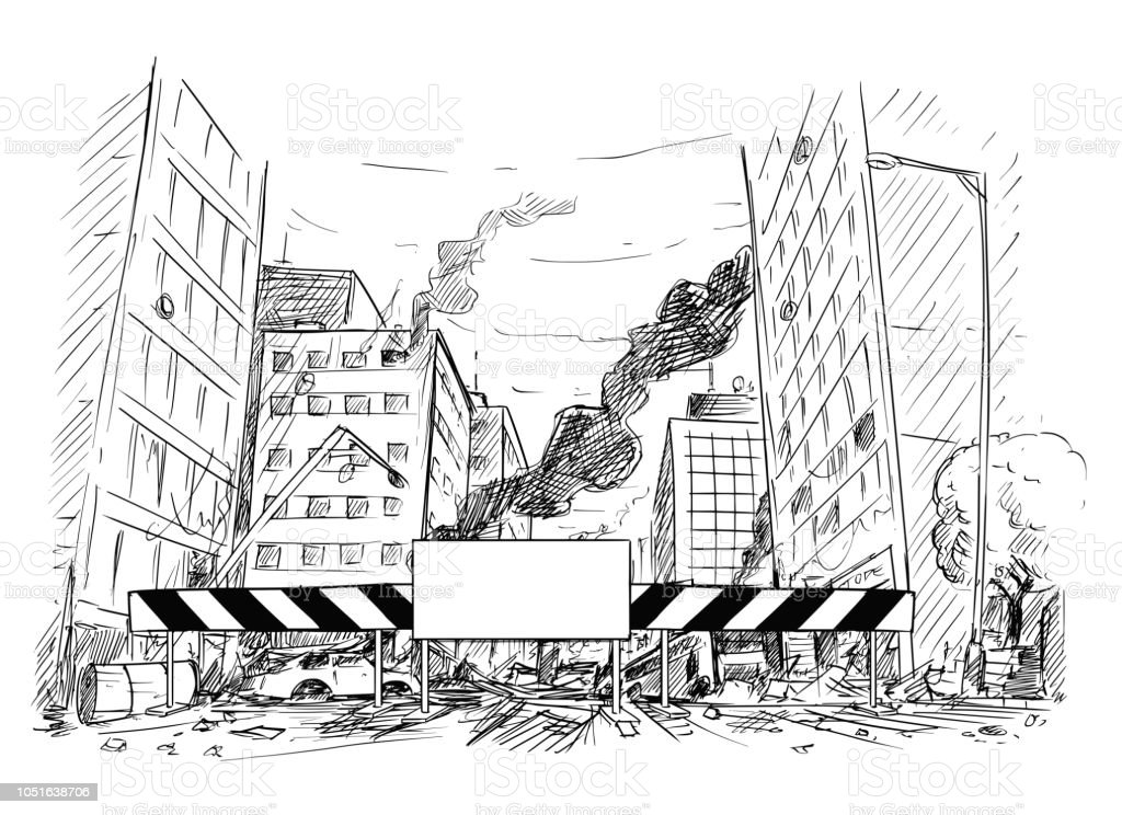 drawing of city destroyed by war or riot or
