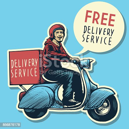 vector of hand drawing of delivery service man riding a scooter