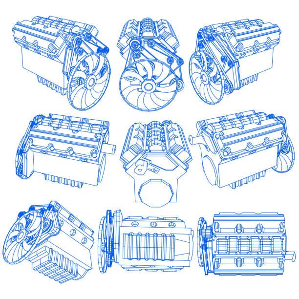 illustrazioni stock, clip art, cartoni animati e icone di tendenza di hand drawing of engine on blue pen - close up auto