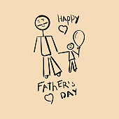 Hand drawing of father and child. Happy father's day card-hand drawn letter. Design for greeting card, poster, banner, printing, mailing. Vector