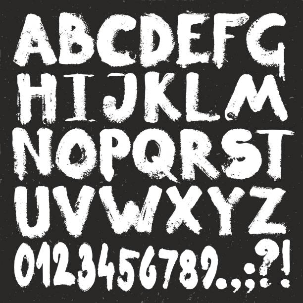 hand drawing of grunge style alphabet. white paint brush texture letters and number set - graffiti fonts stock illustrations, clip art, cartoons, & icons