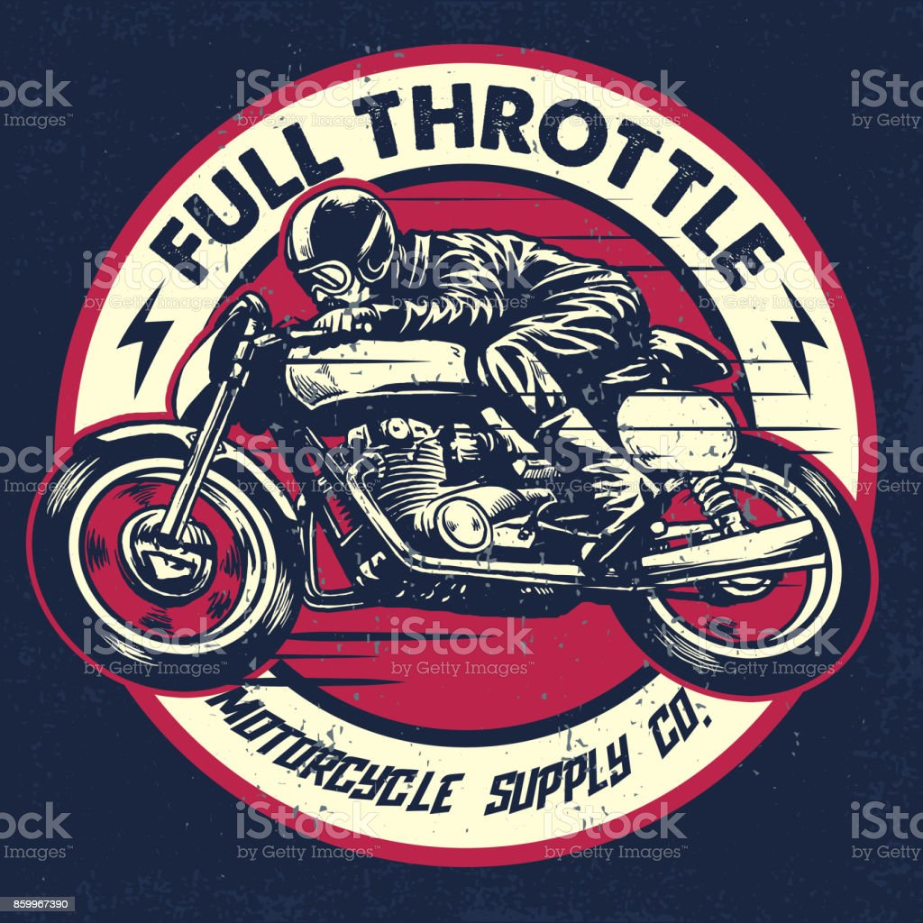 Hand Drawing Of Man Riding A Classic Cafe Racer Motorcycle Stock