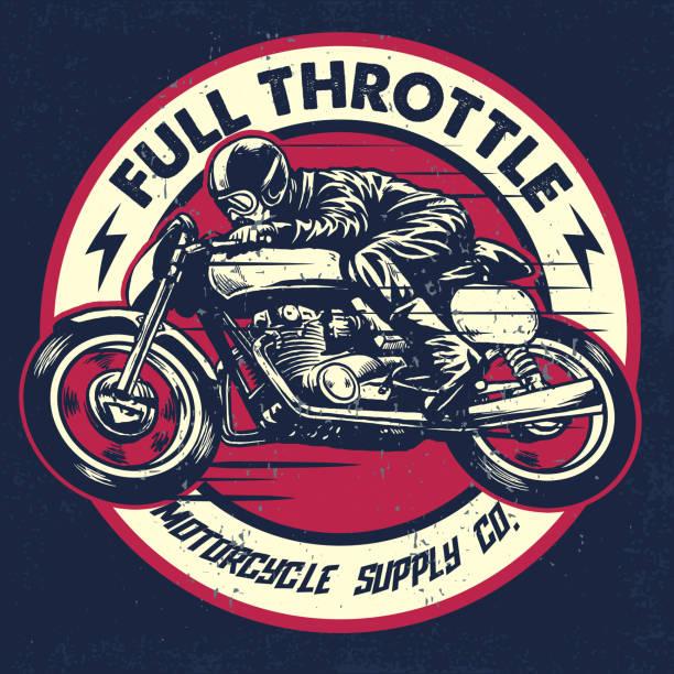 dibujo de hombre monta una moto racer de café clásico de la mano - ilustración de arte vectorial