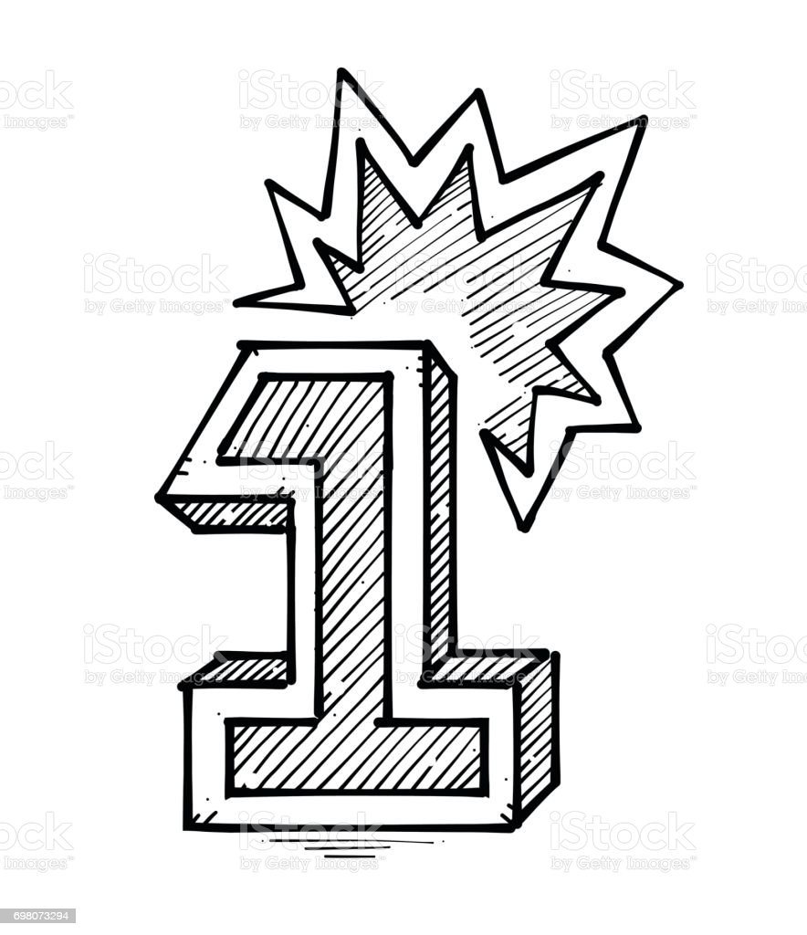 Hand drawing of number one with a brightness on top vector art illustration