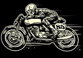 vector of Hand drawing of skull riding vintage motorcycle