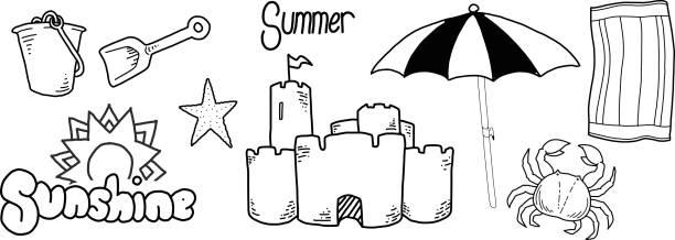 illustrations, cliparts, dessins animés et icônes de main, dessin d'éléments sur le thème de l'été - chateau de sable