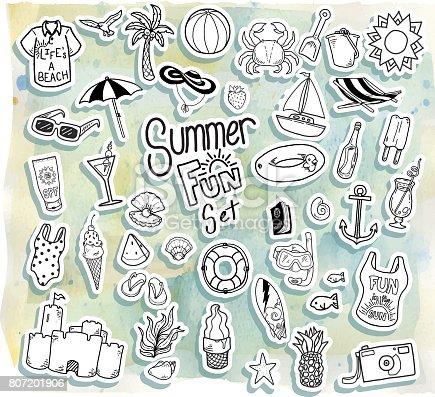 istock Conjunto de iconos de verano - vacaciones, días de fiesta y ...