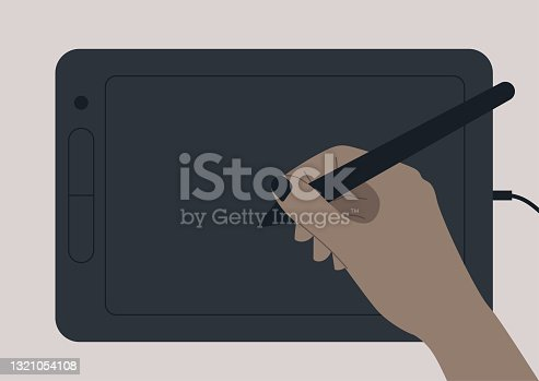 istock A hand drawing on a black digital graphic tablet, design industry, creative occupation 1321054108