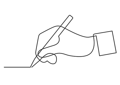 continuous line drawing of hand drawing a line