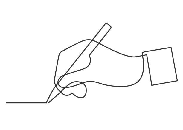Hand drawing one line continuous line drawing of hand drawing a line continuity stock illustrations