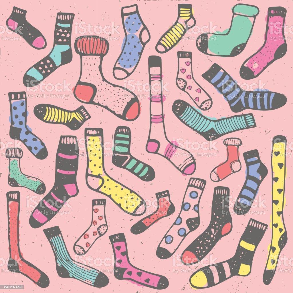 El Boyama Kitabı Için Doodle Renkli Yün çorap Desen çizimi Stok