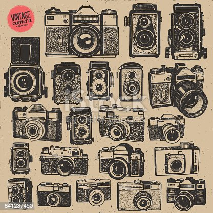 Hand drawing retro an vintage photo cameras in isolated vector big collection
