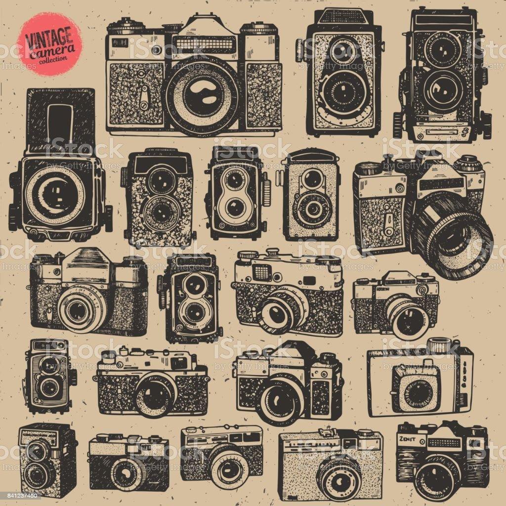 Main, dessin rétro une caméras photo vintage de collection grand vecteur isolé - Illustration vectorielle