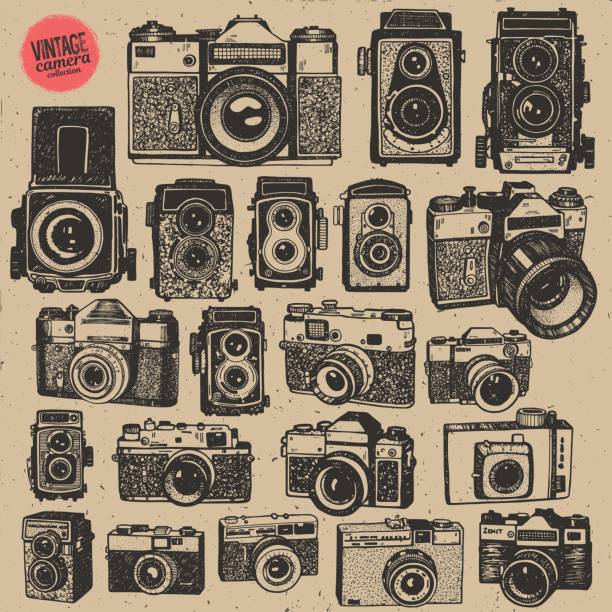 hand drawing retro an vintage photo cameras in isolated vector big collection - aparat fotograficzny stock illustrations