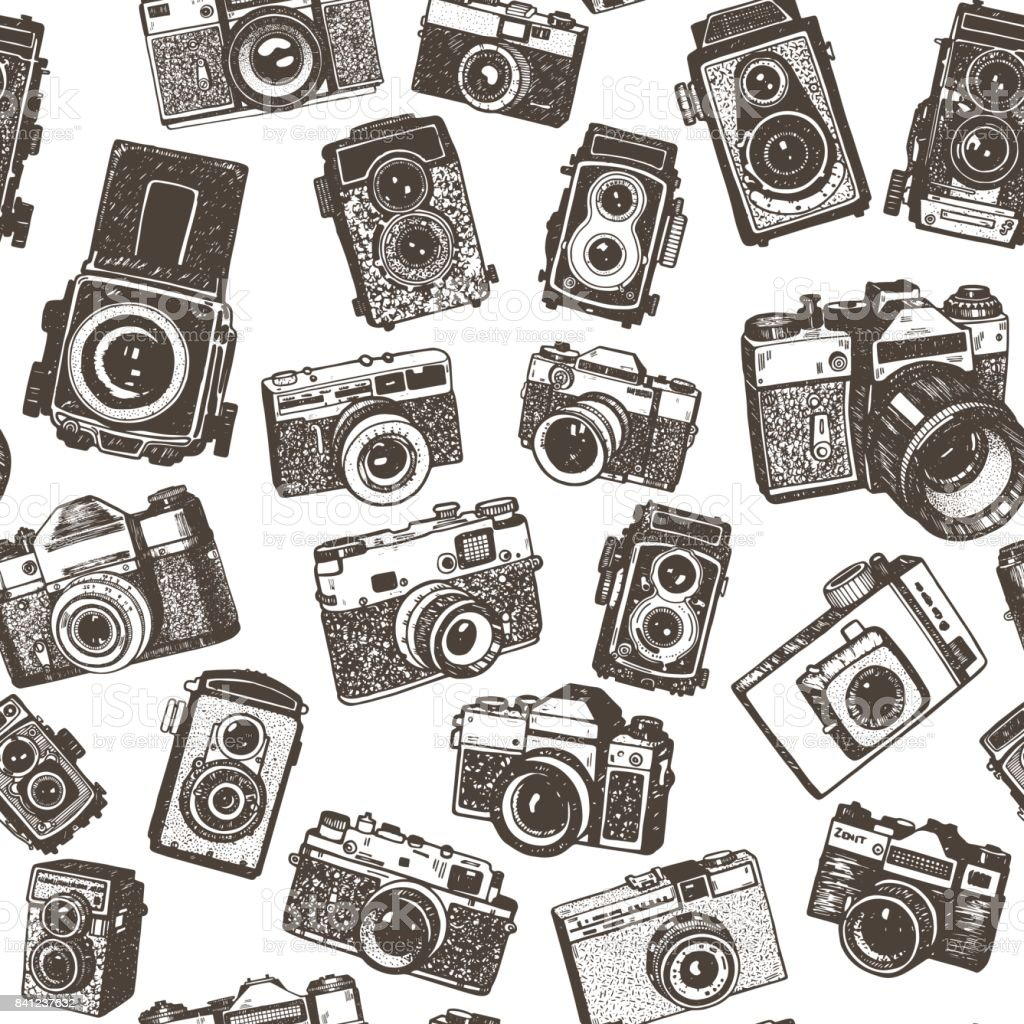 Hand drawing retro photo cameras seamless pattern background