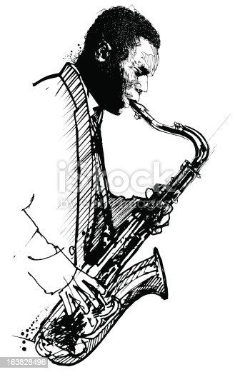 Hand drawing saxophonist on a white background stock - Dessin saxophone ...
