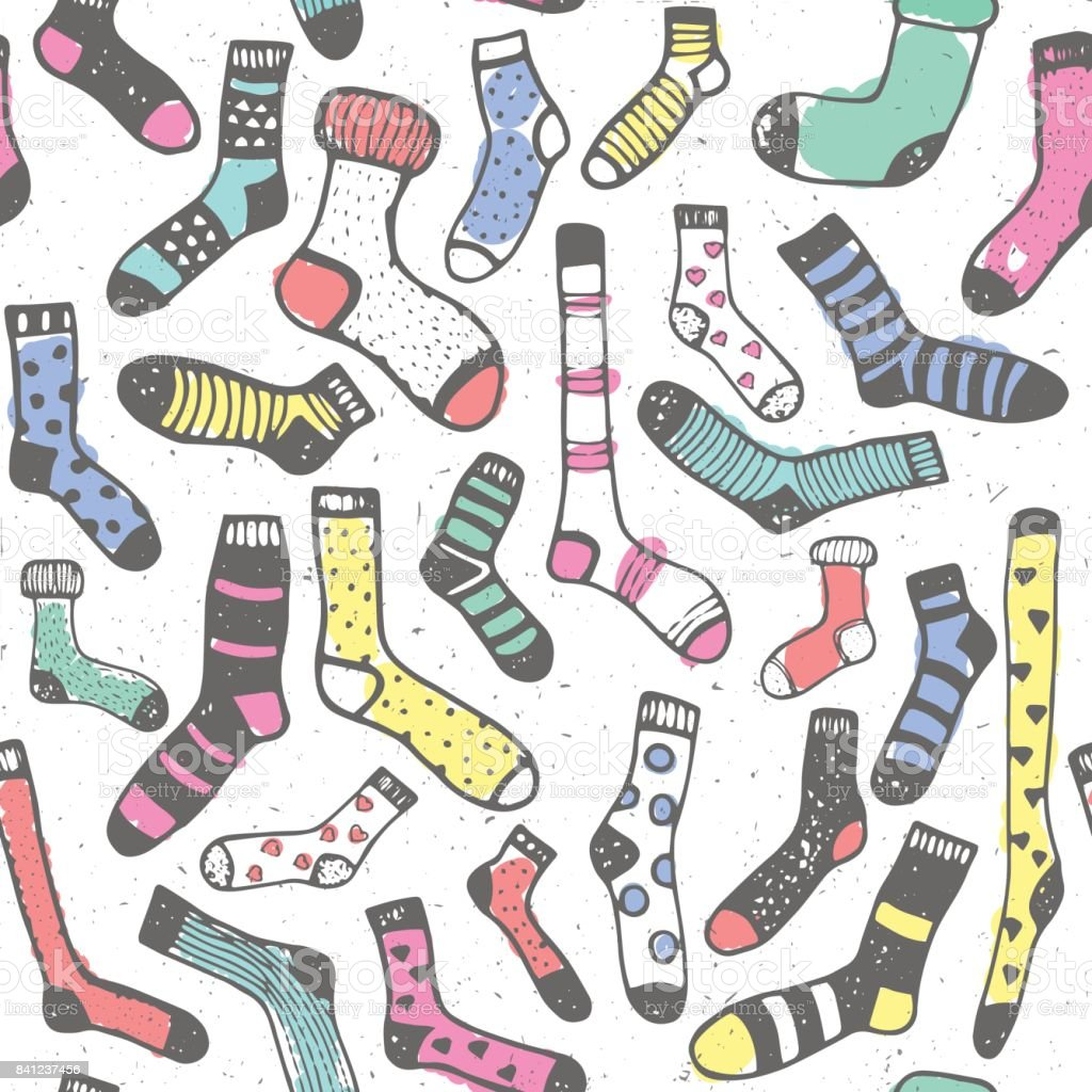 Hand drawing seamless pattern of doodle colorful wool socks for background print vector art illustration