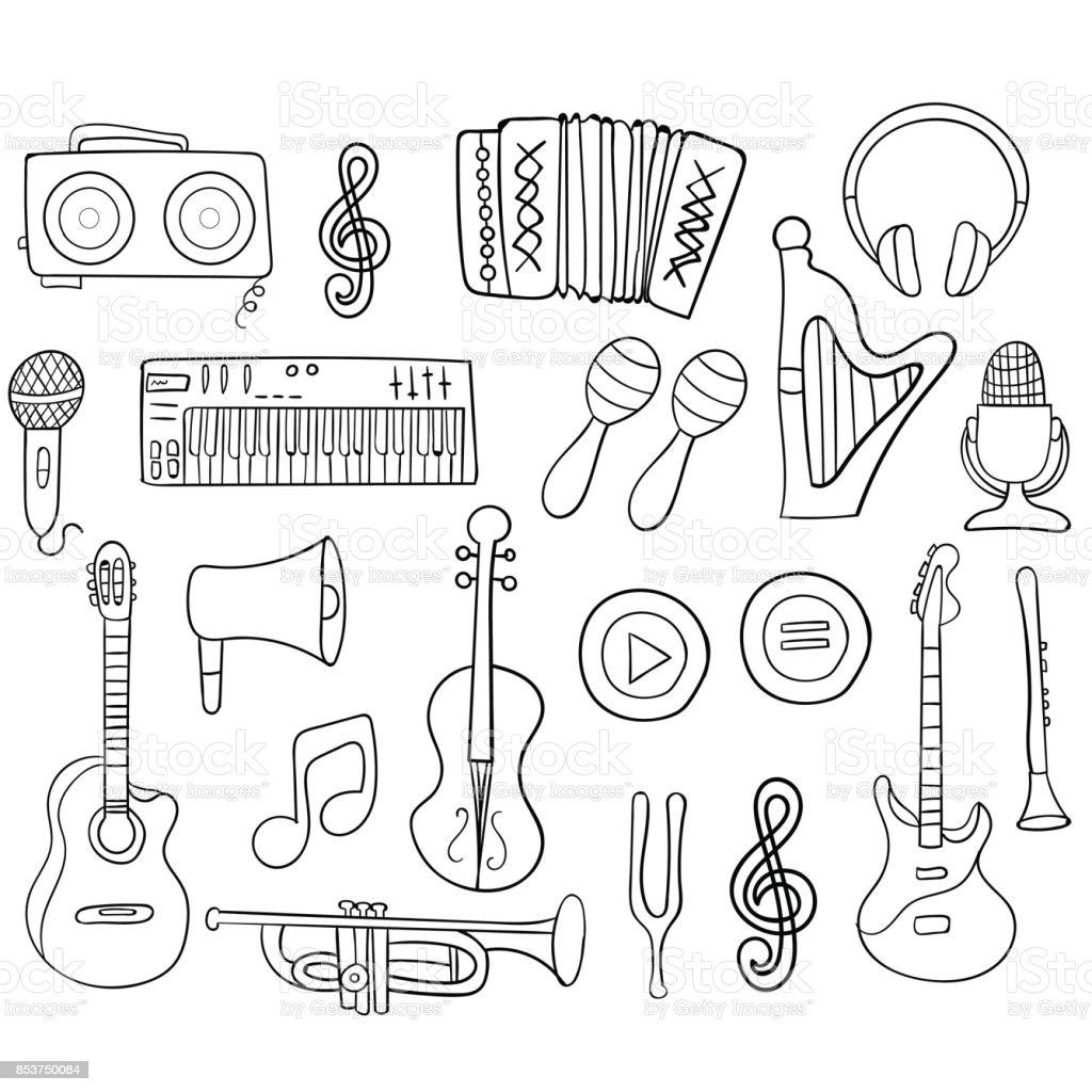 Ilustración De Dibujo De La Mano Conjunto Iconos Música Para Su