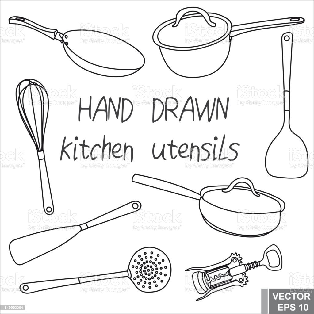 Hand Drawing Set Kitchen Utensils To Prepare The Food For Your