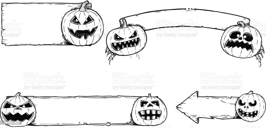 Handzeichnungset Halloween Rahmen Mit Cartoon Kürbis Stock Vektor ...