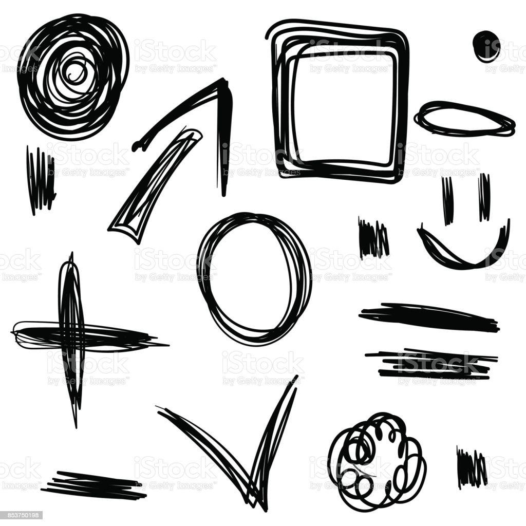 El çizimi Ayarlayın Karalama Siyah Tasarımlarınız Için Stok Vektör
