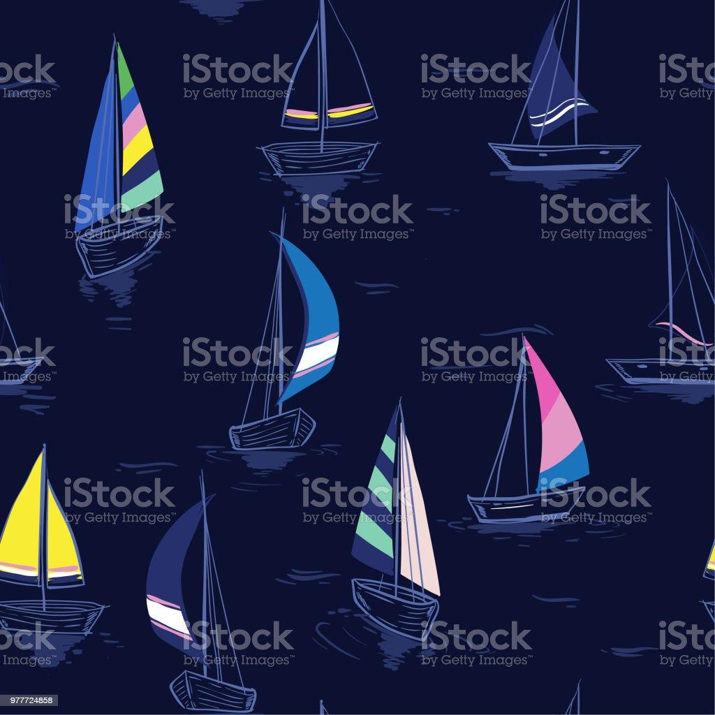 Main De Dessin Croquis Modele Mer Ete Transparente Avec Des Bateaux A Voile Sur Fond Bleu Marine Vecteurs Libres De Droits Et Plus D Images Vectorielles De Art Istock