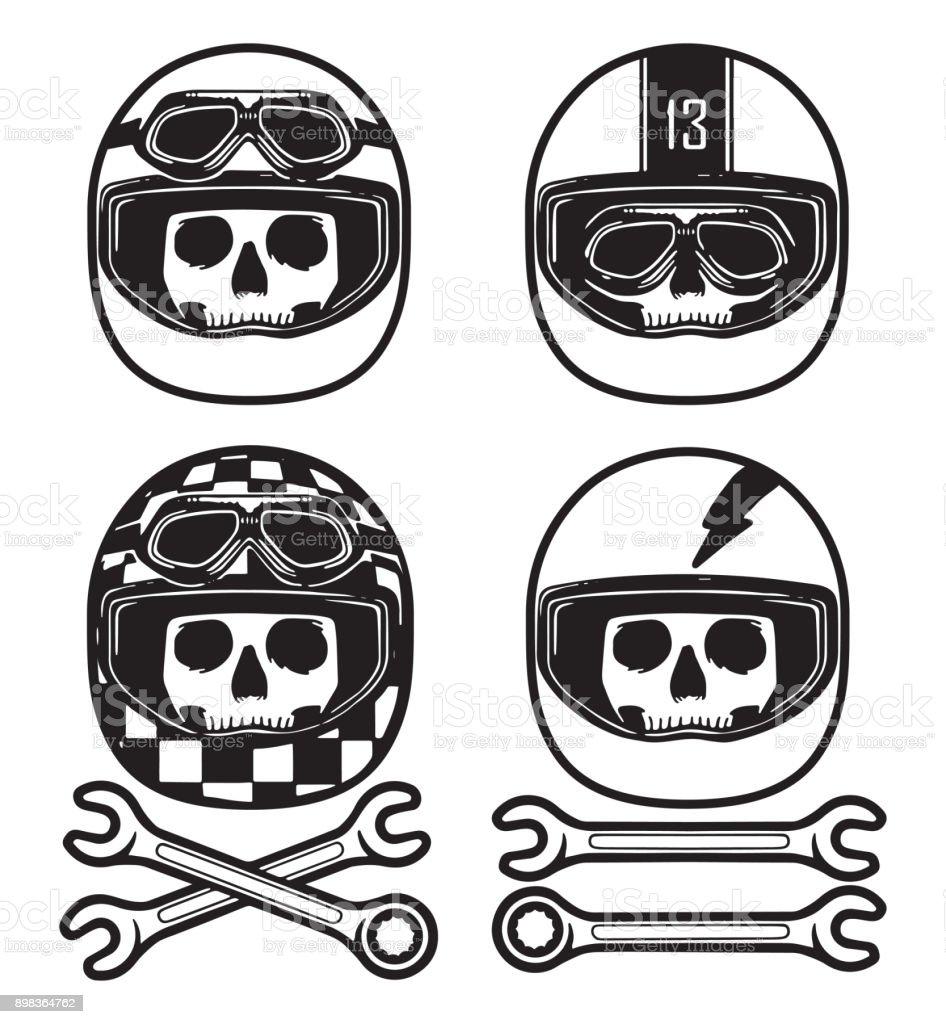 Ilustración De Mano Dibujar Calaveras Con Varios Cascos De Carreras