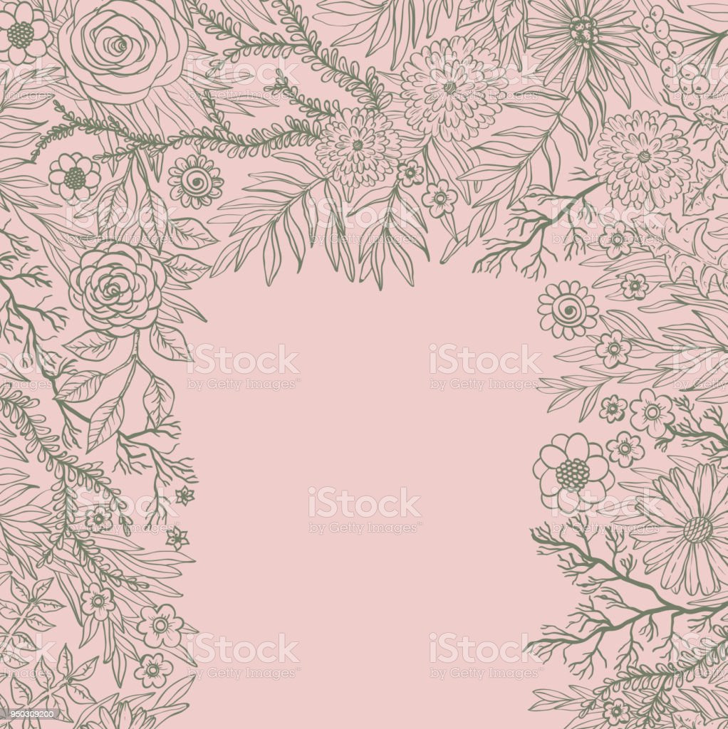 Hand Drawing Spring Background With Flowers And Plants Doodle