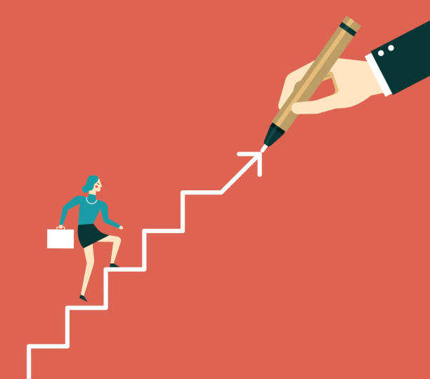 hand drawing stairs for a businesswoman - stopnie do sukcesu stock illustrations